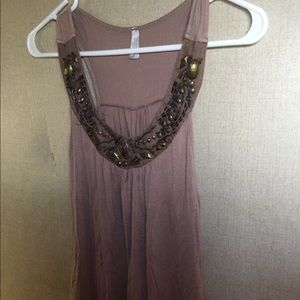 Tan tank top with jewels